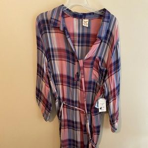 Button Up Flannel Dress with Belt NWT